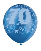 Blue Glitz Age 70 Latex Balloons (6)